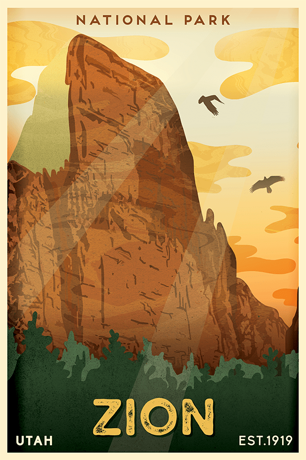 Zion National Park Poster National Park Posters National Parks Zion National Park Utah