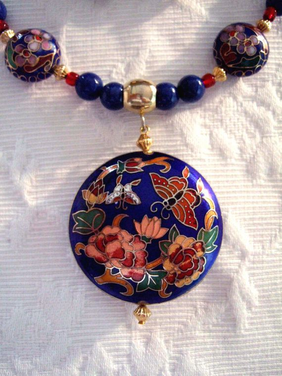 Yellow Gold Sterling Silver Enamel Goldfish Pendant Necklace Handmade Blue Carving Beaded Jewelry