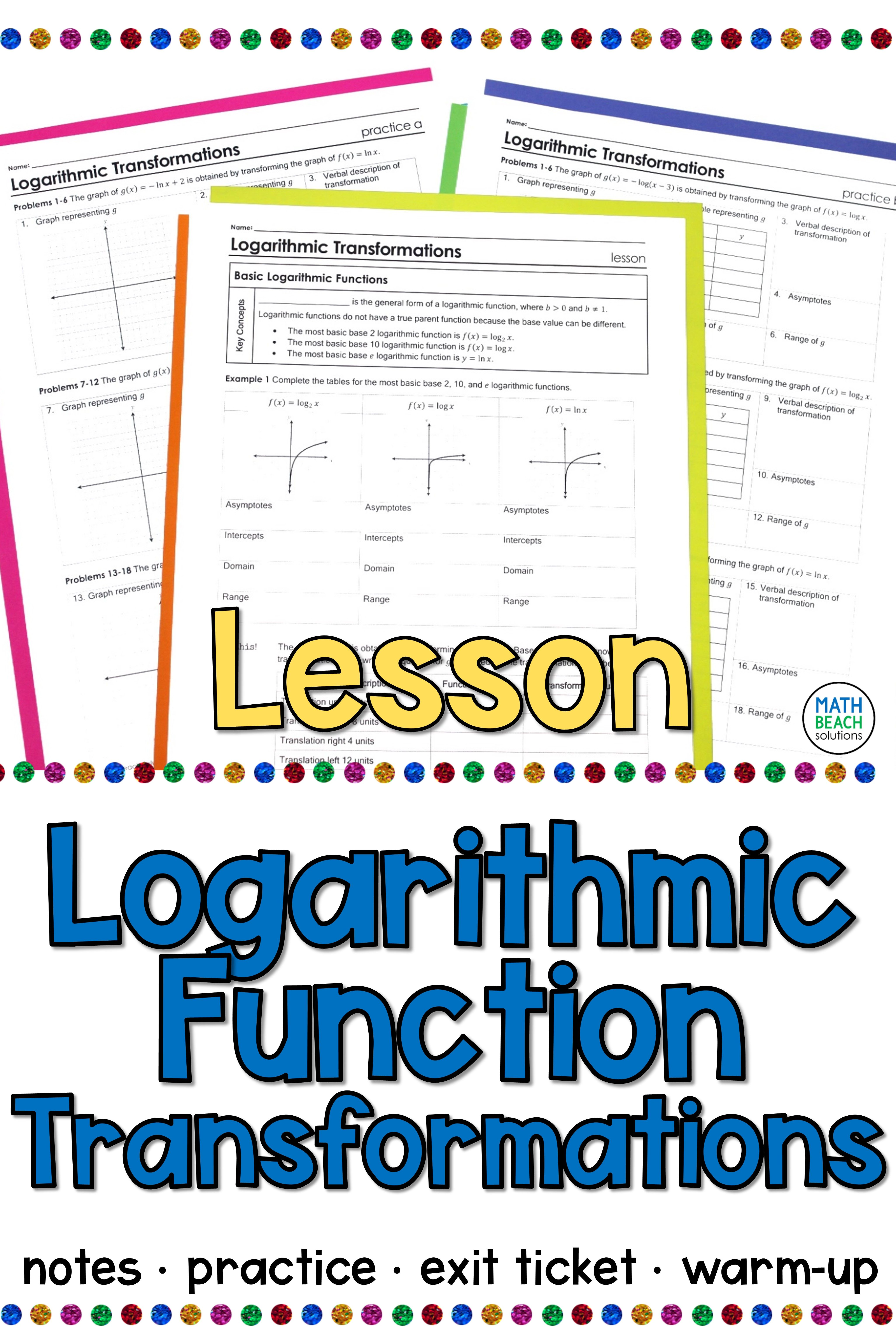 Logarithmic Function Transformations Lesson Exponential Functions Word Problem Worksheets Algebra Lesson Plans
