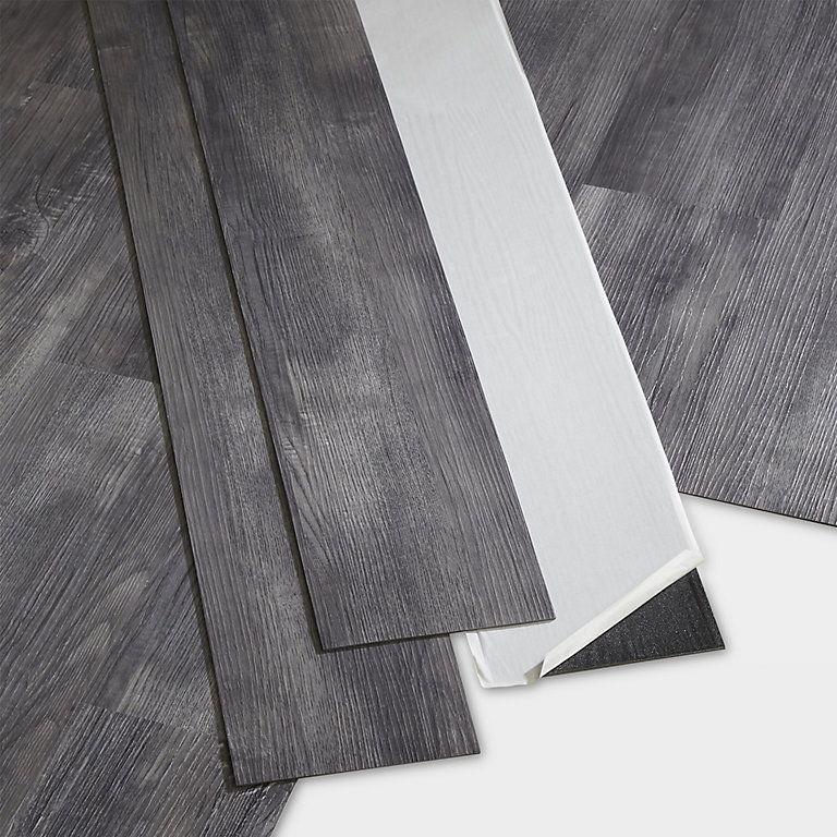 Goodhome Poprock Grey Wood Effect Self Adhesive Vinyl Plank 1 11m Pack Diy At B Q Grey Wood Vinyl Plank Adhesive Vinyl