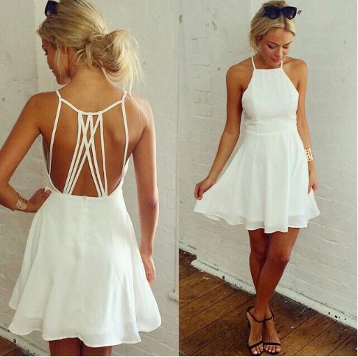 White Halter Strap Dress Idées vestimentaires, Robe