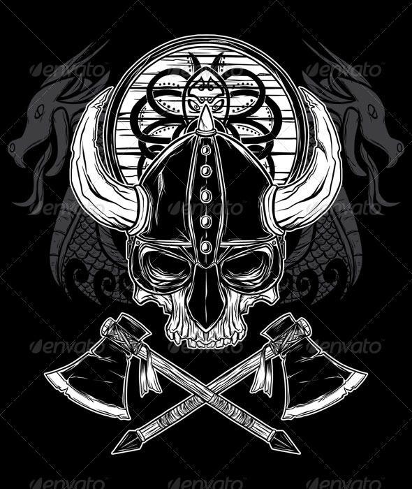 Vector Hand Drawn Viking Skull Axe And Shield Graphicriver