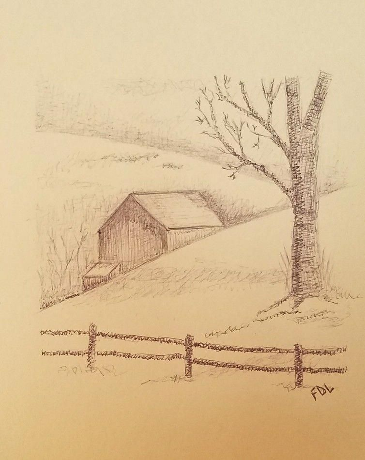 Drawing Of A Barn Landscape Pencil Drawings Landscape Drawings Drawings