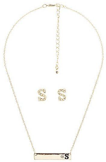"""""S"""" Initial Necklace & Earrings Set ($2.59)"