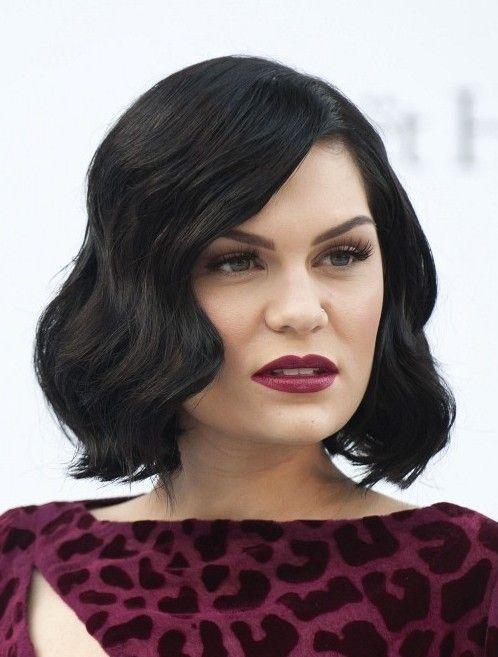 jessie j hairstyles: short black wavy bob hairstyle for women