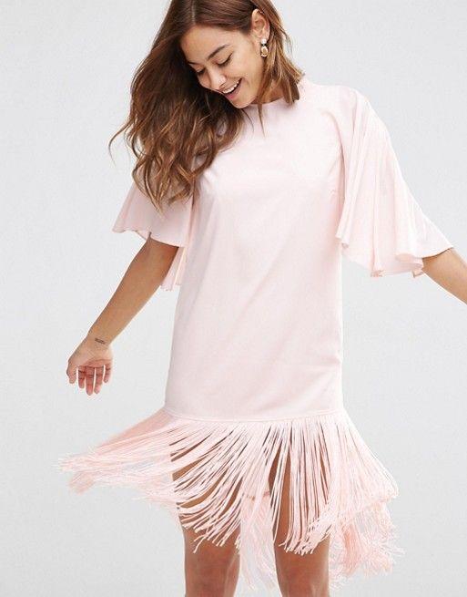 851410f68d9a ASOS | Платье-футболка мини с бахромой ASOS Блузка С Оборками, Одежда French  Connection