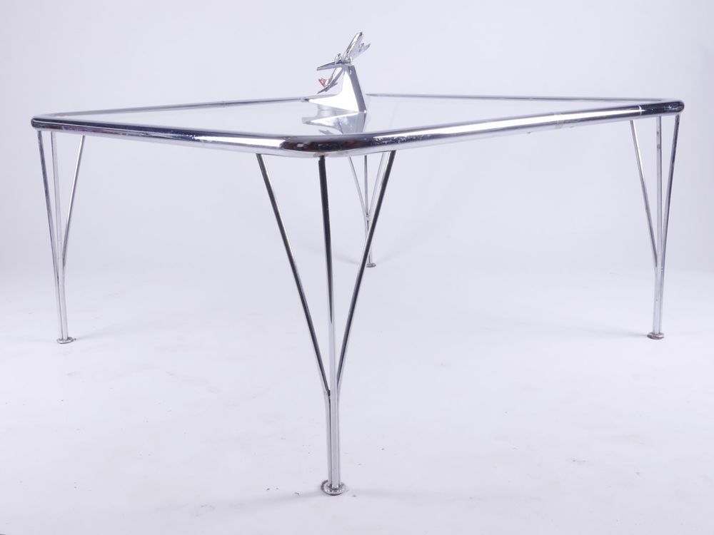 Rechteckiger Chrom Stahlrohr Glas Couchtisch Sofa Hairpin Legs Glas Couchtisch Stahlrohr Couchtisch