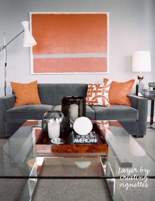 Best Living Space Light Gray Walls Dark Grey Couch White Lamp Shades Orange Accents インテリア カラー 640 x 480