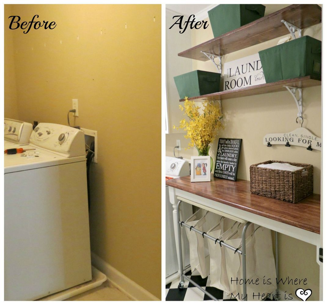 blah to charming laundry room, flooring, laundry rooms, shelving ...