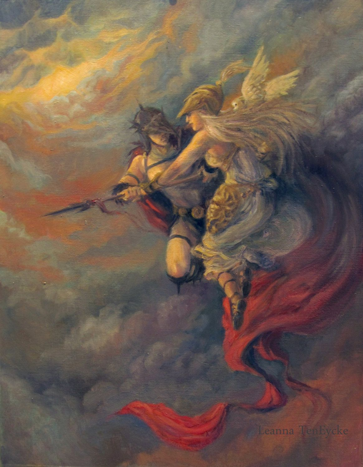 Athena Goddess Ares God Of War Oil Painting 5x7 Print Fantasy Art