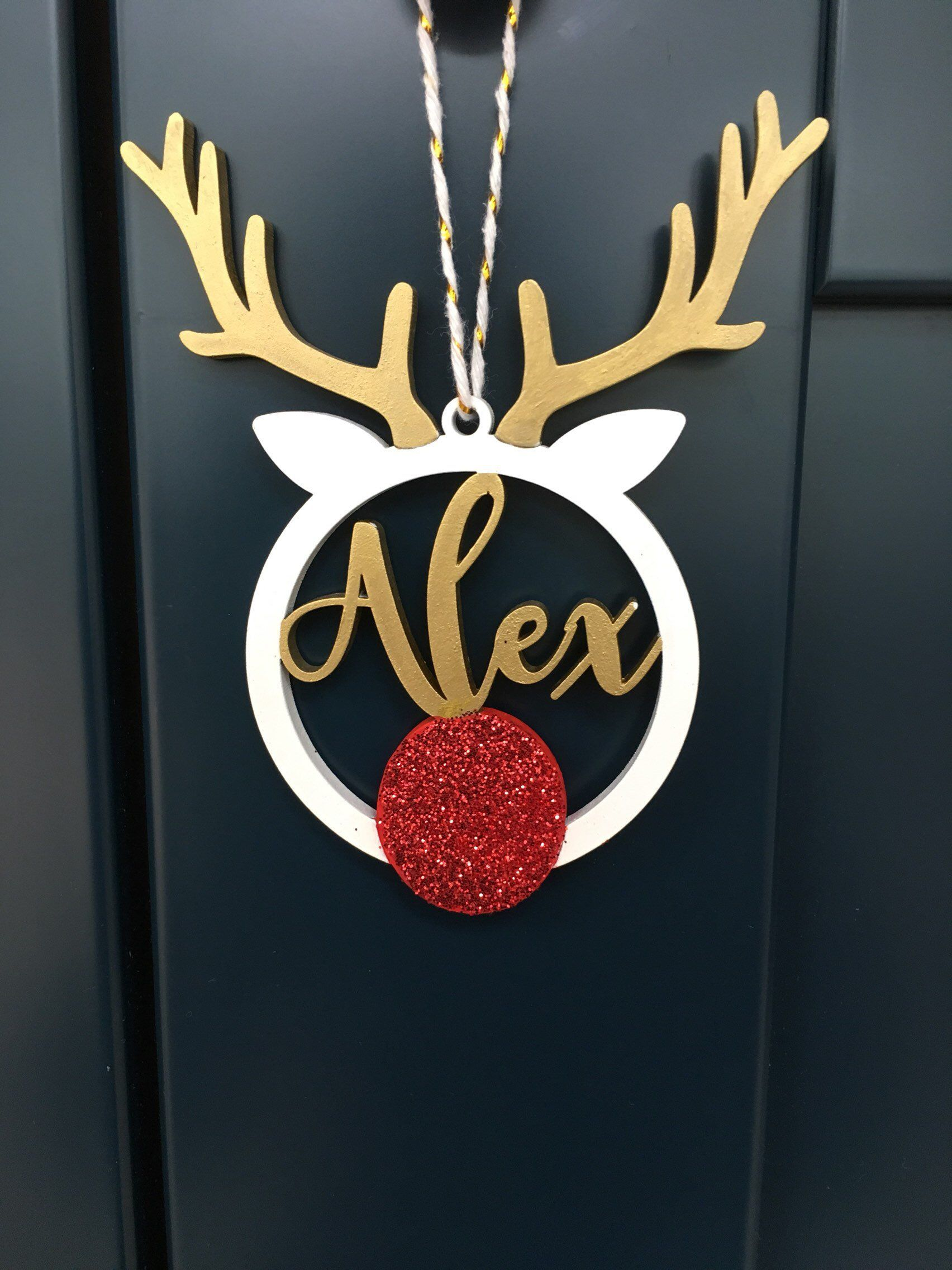 Excited To Share This Item From My Etsy Shop Personalised Christmas Name Reindeer B Personalised Christmas Decorations Christmas Names Personalized Christmas