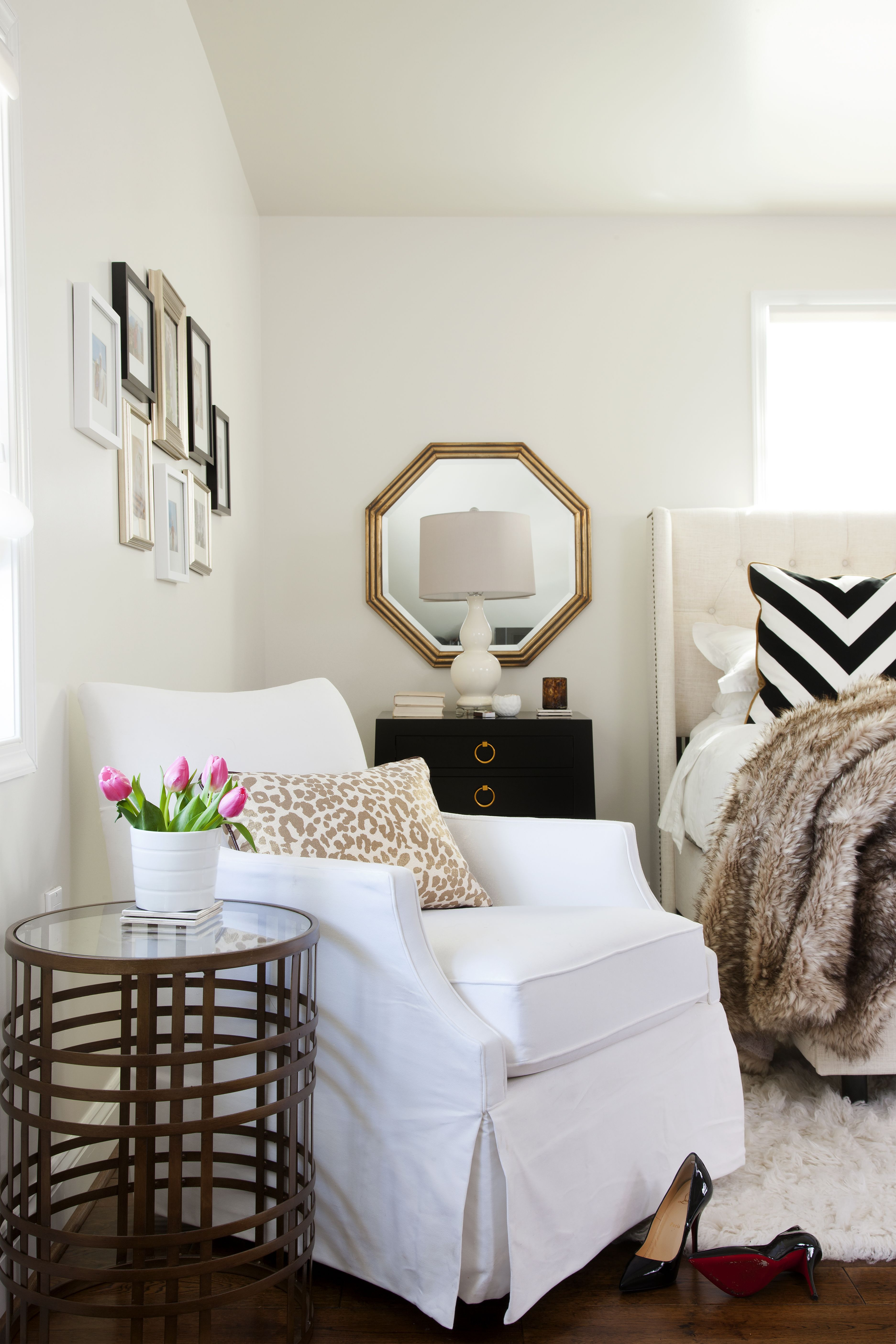 Design by JWS Interiors Glam bedroom, white bedroom, faux fur, white ...