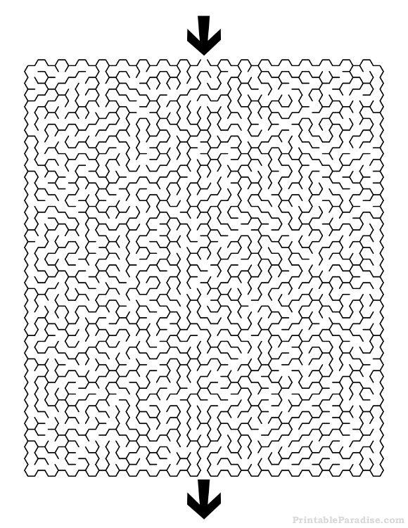 Printable Hexagon Maze - Difficult \u2026 hi Maze,\u2026