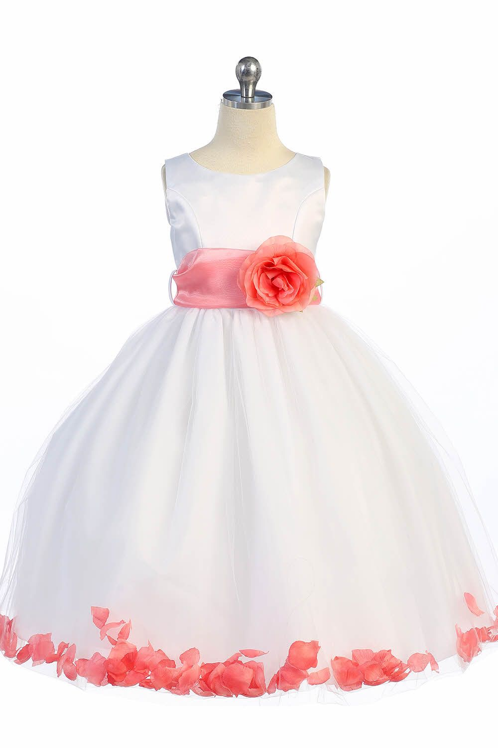 87c9b8e5d71 White Coral Satin   Tulle Petal Flower Girl Dress with Sash   Flower ...