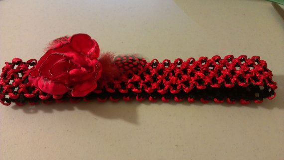 Red Satin Rose Headband with matching by TheDiaperCakeBakers, $5.00