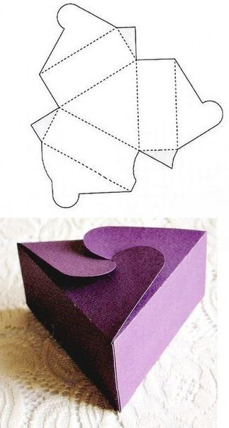 Bouwplaat voor driehoekig cadeaudoosje | FIMO-ideeën | Pinterest ...