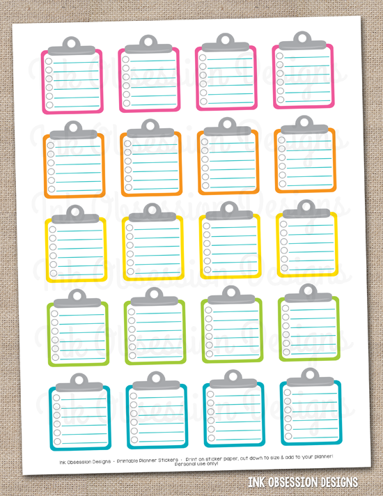 Children S Calendar With Stickers : To do clipboards printable planner sticker pdf ink