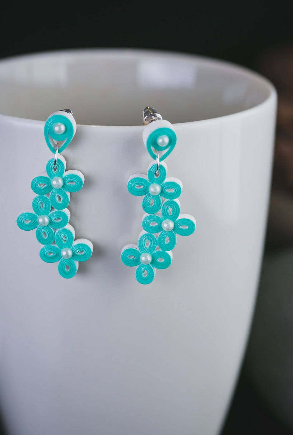 Teal Earrings Stud Flower Hangings Pearl Light Weight Quilling Paper Earring By Papersweetly