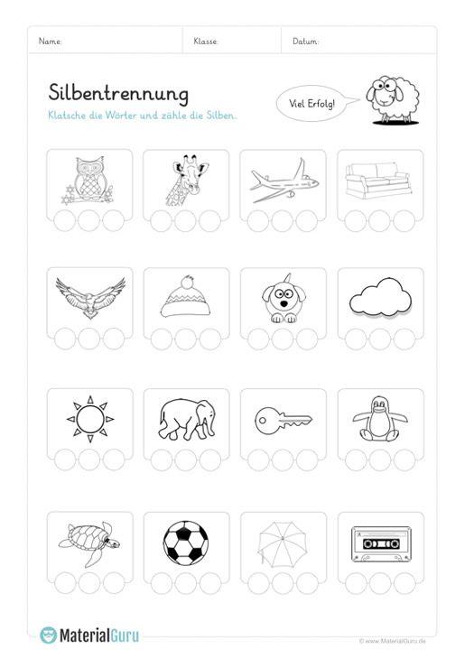 ein kostenloses arbeitsblatt zum thema silbentrennung auf dem die sch ler die silben von. Black Bedroom Furniture Sets. Home Design Ideas