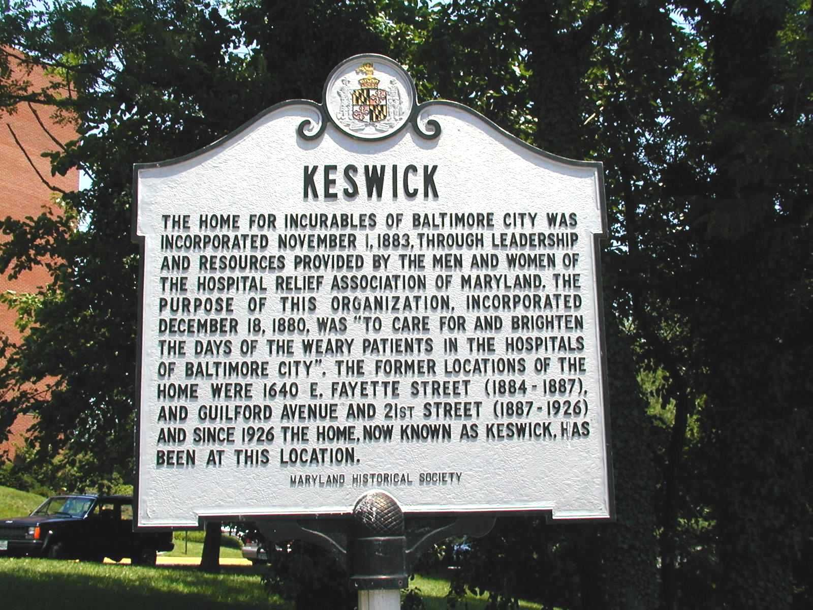 Keswick, home of the incurables, Baltimore City