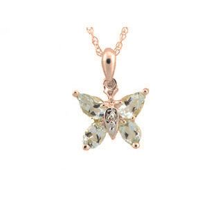 Aquamarine Diamond Gemstone Butterfly Pendant In Rose Gold Available Exclusively at Gemologica.com