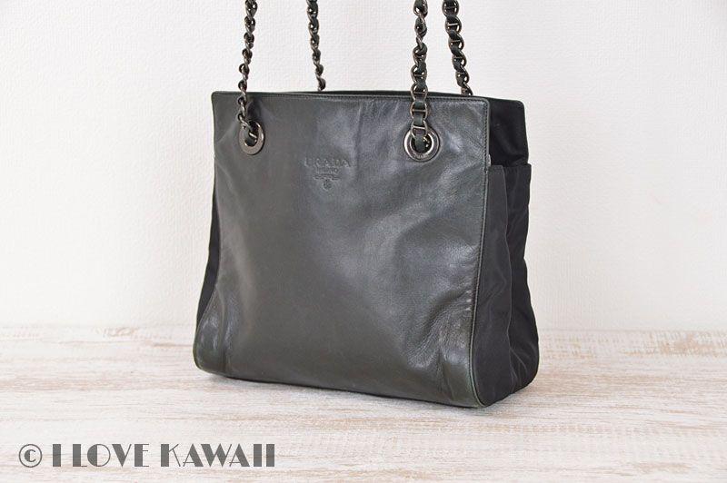 04babc9eac77 PRADA Black Nylon Leather Chain Shoulder Bag | PRADA | Bags, Chain ...