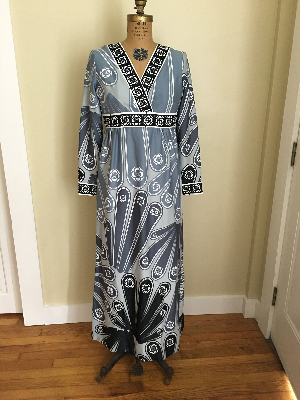 Vintage hawaiian maxi dress s s mod hawaiian dress long
