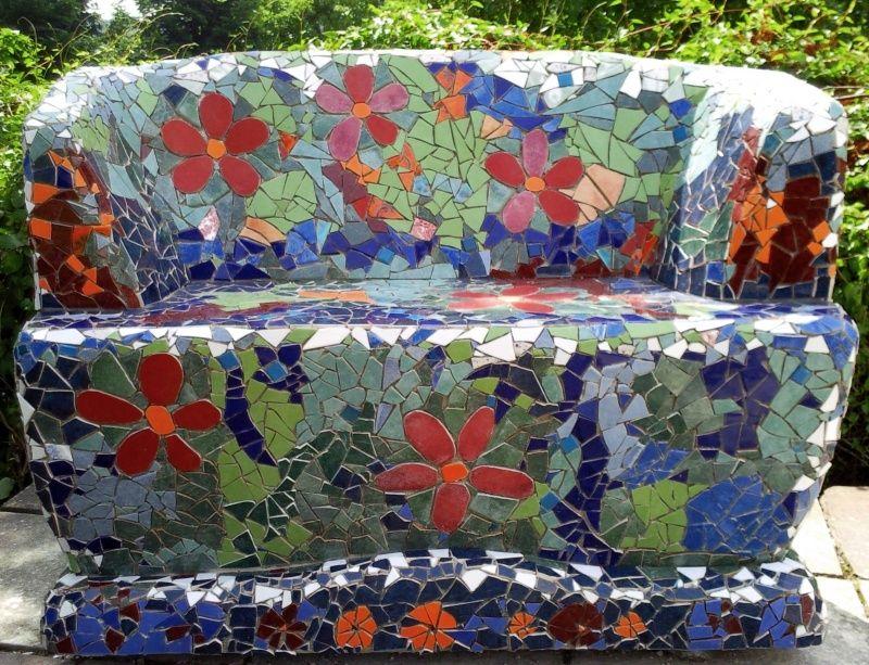 Immer bl hende mosaik bank mosaik pinterest mosaik b nke und garten - Garten mosaik ...