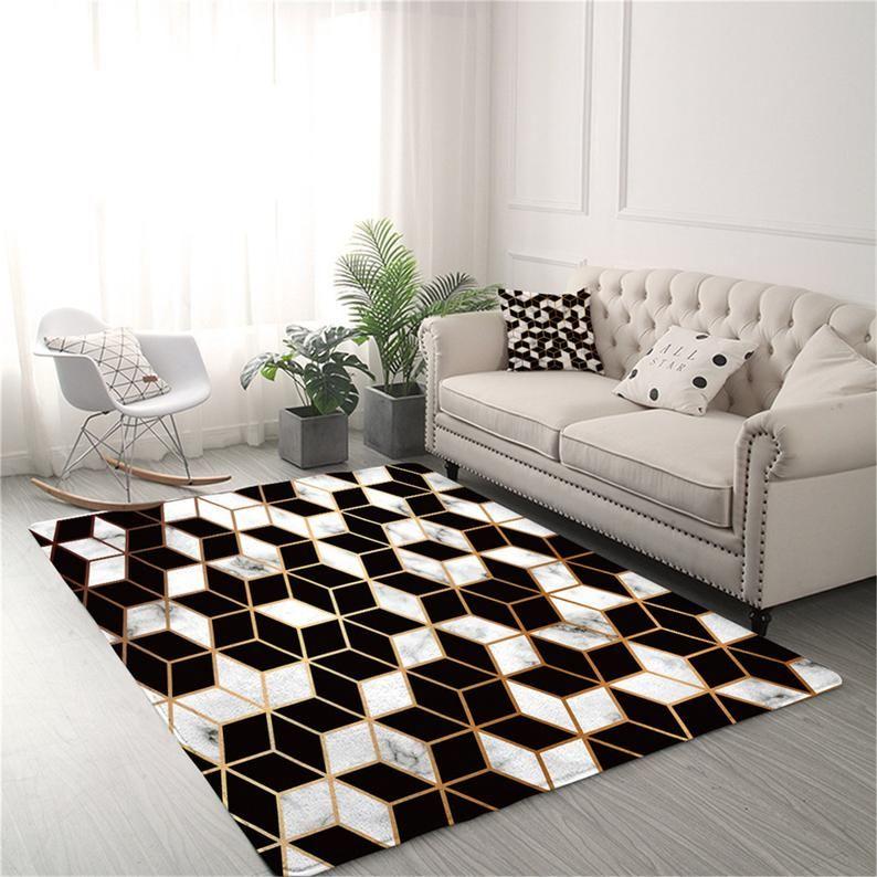 Geometric Carpets For Living Room Black And White Center Rug Etsy In 2021 Living Room Carpet Geometric Carpet Center Rugs