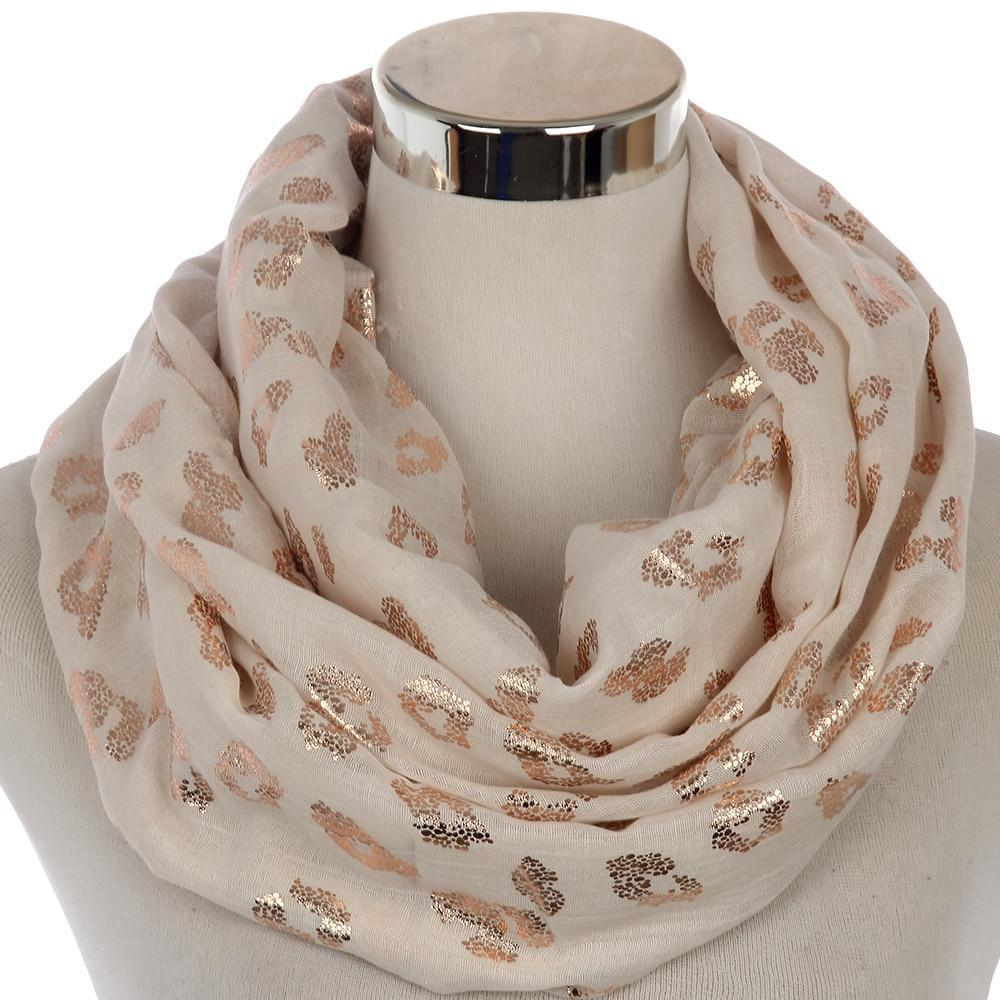 27481a1eb2b95 Rose Gold Foil Leopard Print Infinity Scarf in 2019 | Fashion ...