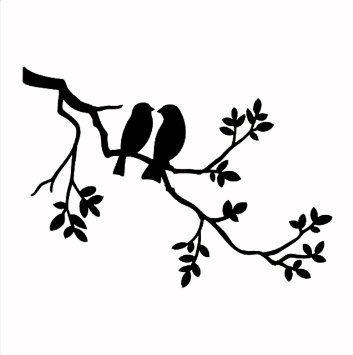 Solitarydesign Pochoir Motif 2 Oiseaux Dans Un Arbre Rustique