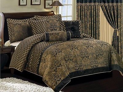 High Quality Luxury Black Gold Jacquard Floral 7pcs Comforter Set Queen
