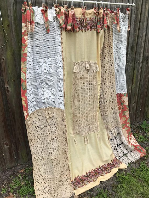 Shabby Chic Shower Curtain Bathroom Home Decor Nordic Boho Vintage Crochet Fabrics