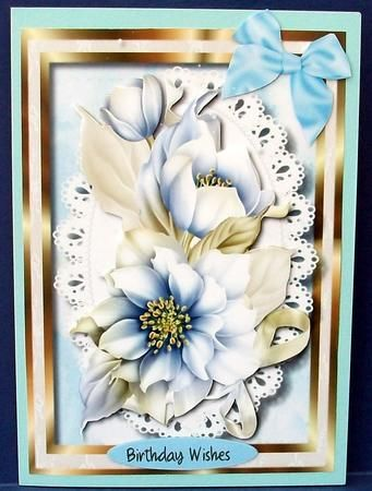 Lovely Blue and Cream Hellebore  on Craftsuprint designed by Ceredwyn Macrae - made by Cheryl French - Printed onto glossy photo paper. Attached base image to card stock using ds tape. Built up image with 1mm foam pads. - Now available for download!