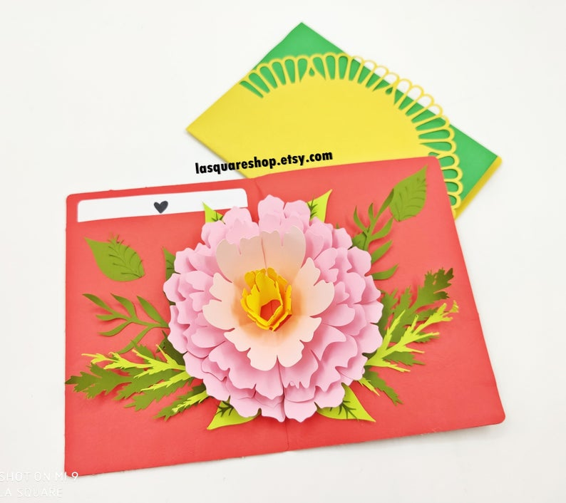 3d Pop Up Greeting Card Diy Flower Pop Up Card Printable 5x7in Christmas Card Svg Valentine Day Card Handmade Birthday Greeting Card Pop Up Card Templates Greeting Cards Handmade Paper Flower Template
