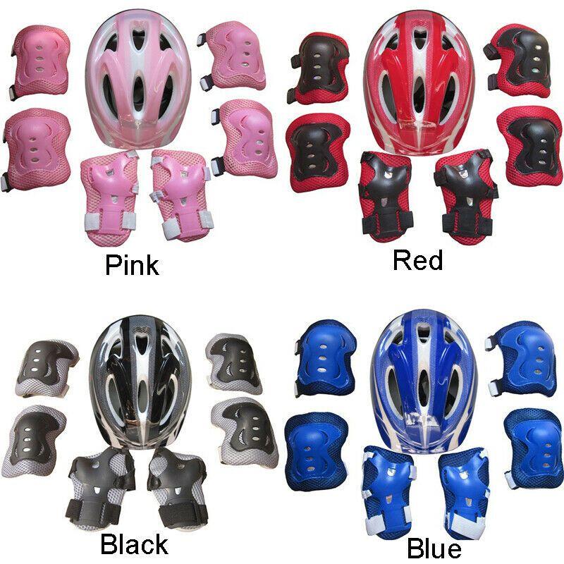 7Pcs// Set Kid Child Roller Skating Bike Helmet Knee Wrist Guard Elbow Pad Kit UK