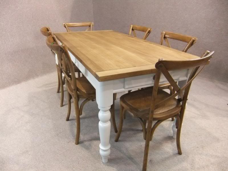 Oak and pine country farmhouse kitchen table with drawer painted ...
