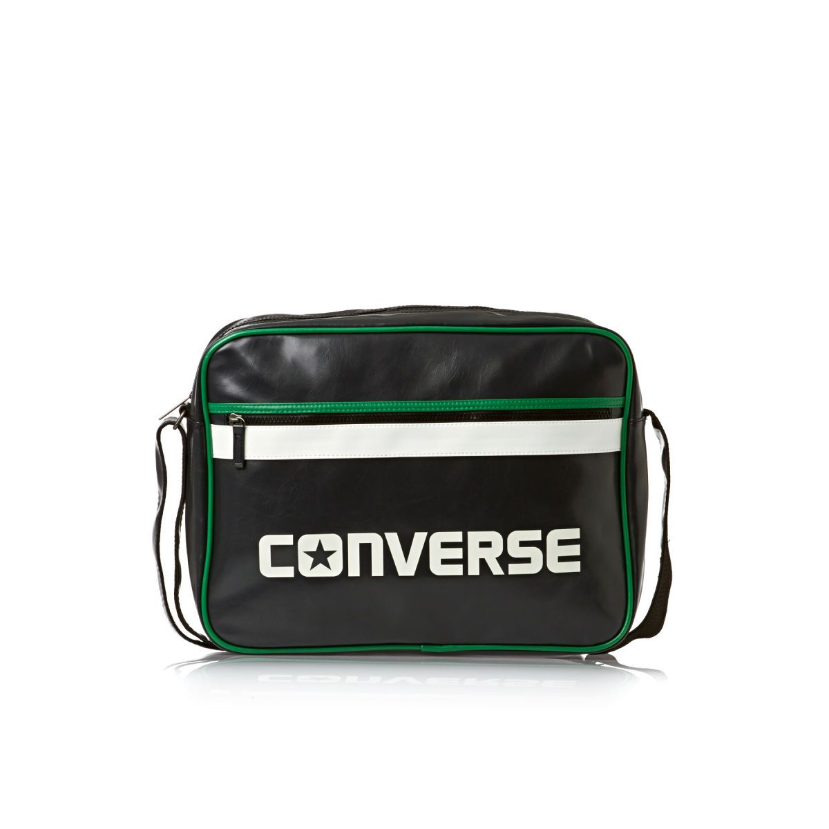 Converse Flat Zip Reporter Sport Messenger Bag - Conv Black/conv ...