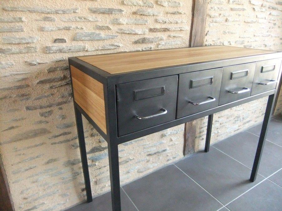 console entree acier bois restauration mobier industriel meubles et d co diy pinterest. Black Bedroom Furniture Sets. Home Design Ideas