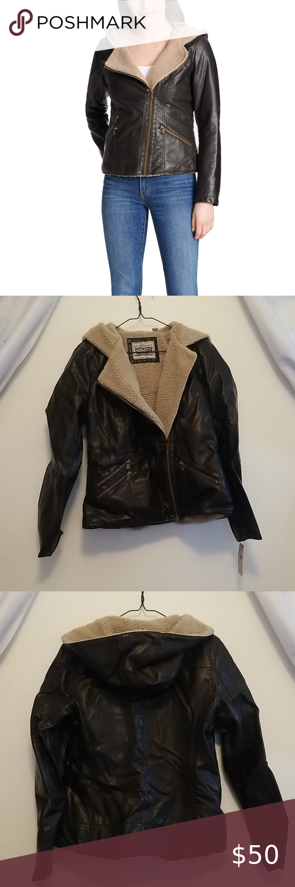 NWT Levi's Leather/Sherpa Jacket (M) in 2020 Jackets