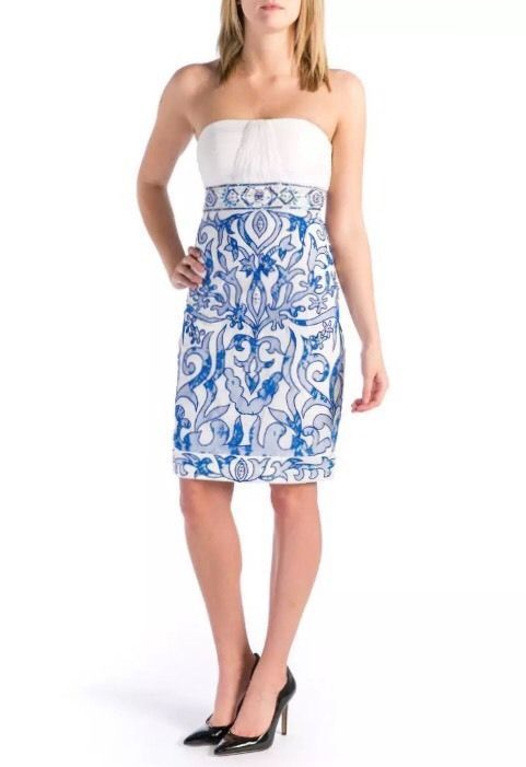 90abd9473ce SUE WONG Ivory   Blue Pleated Bodice Beaded Strapless Dress Size 2  419 NWT  110  SueWong  EmpireWaistSheath  Festive