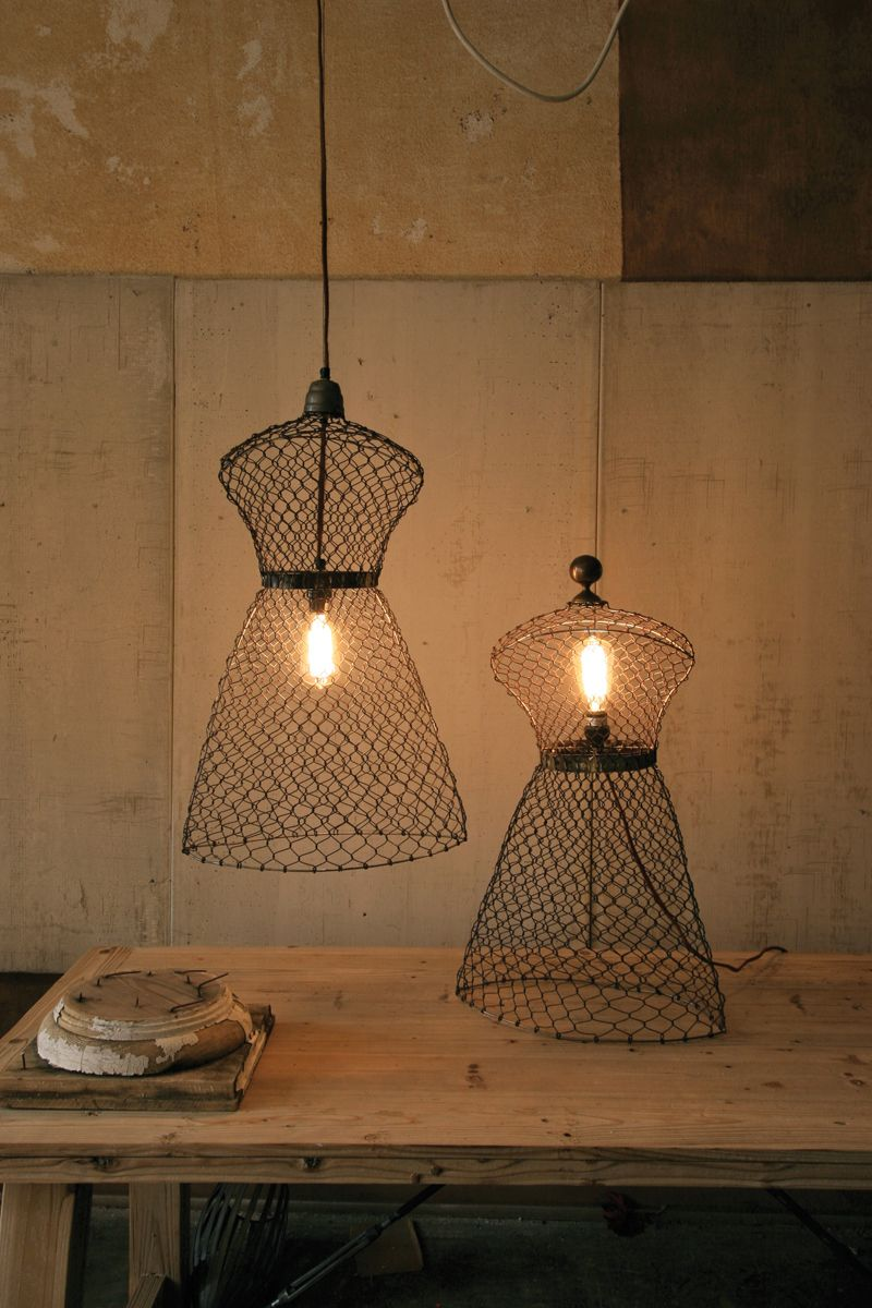 rustic chicken wire mannequin shaped pendant lamp with cloth cord ...