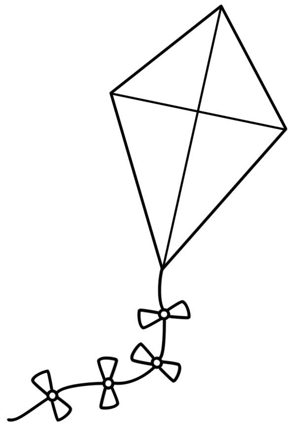 A Simple Kite Coloring Page Kite Template Coloring Pages Kite