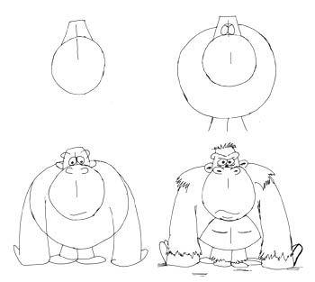 Comictiere Zeichnen Lernen Gorilla Drawing Doodling