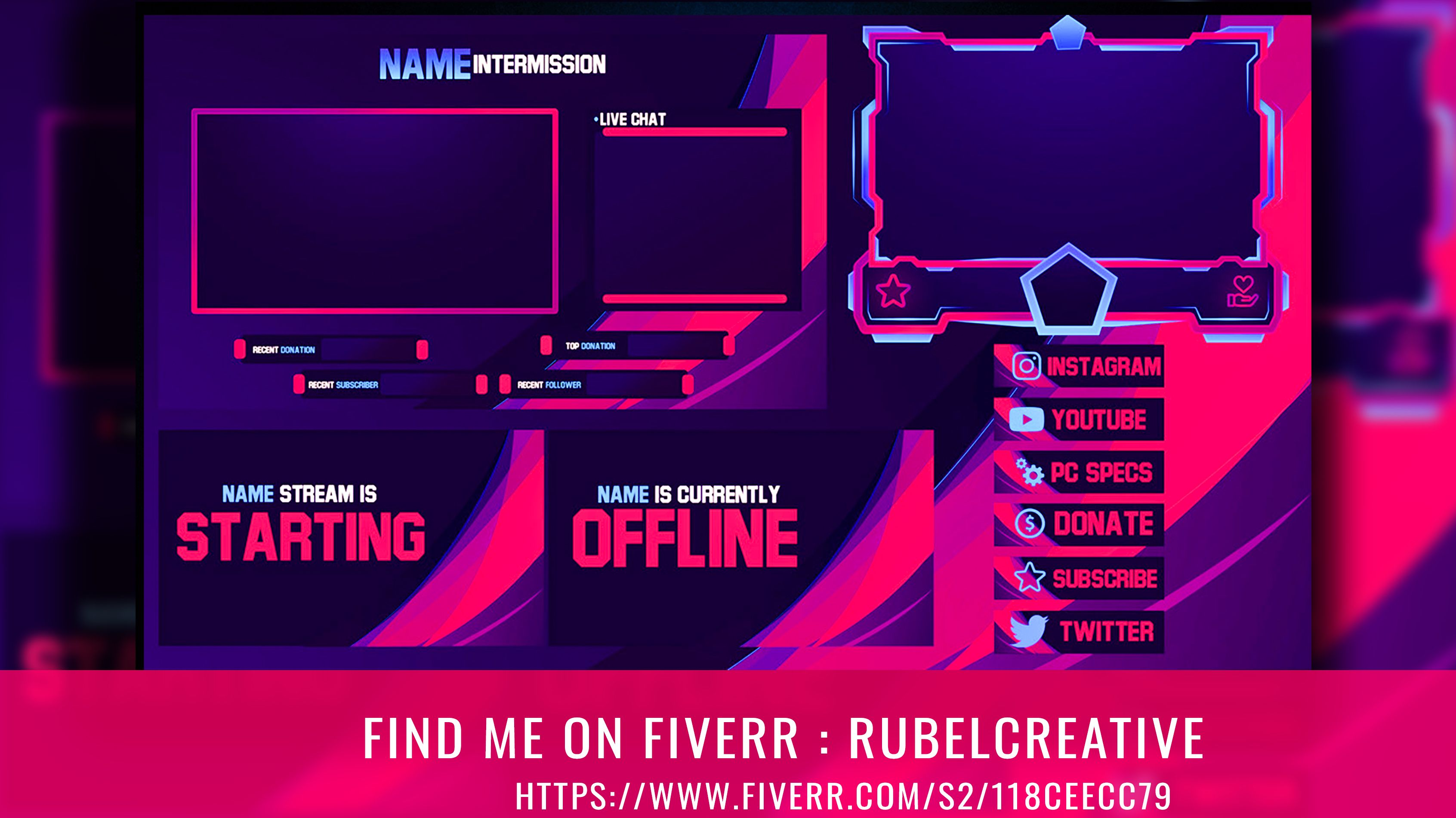 Rubelcreative I Will Design Twitch Overlay For Your Stream Platform For 10 On Fiverr Com In 2020 Streaming Overlays Twitch