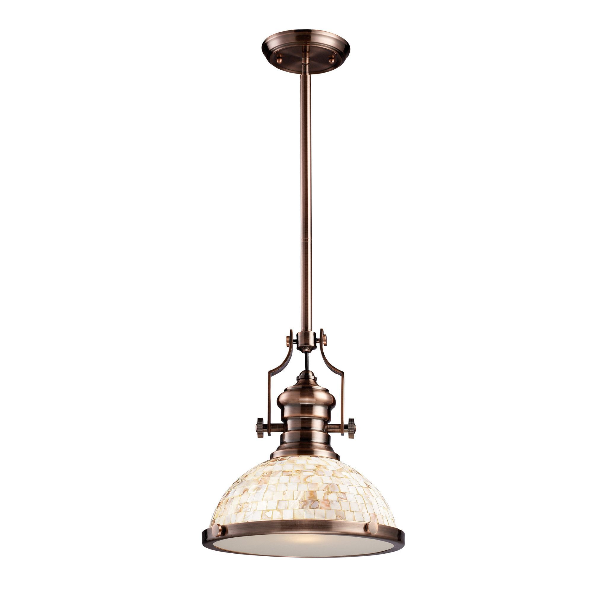 Elk chadwick 1 light pendant antique copper and cappa shell 66443 chadwick antique copper and cappa shell 13 inch one light pendant elk lighting dome pendan arubaitofo Image collections