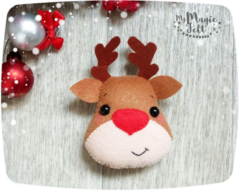 Christmas Ornaments Felt Rudolph Reindeer Ornament By Mymagicfelt Adornos Navidenos Fieltro Navidad Manualidades Navidenas