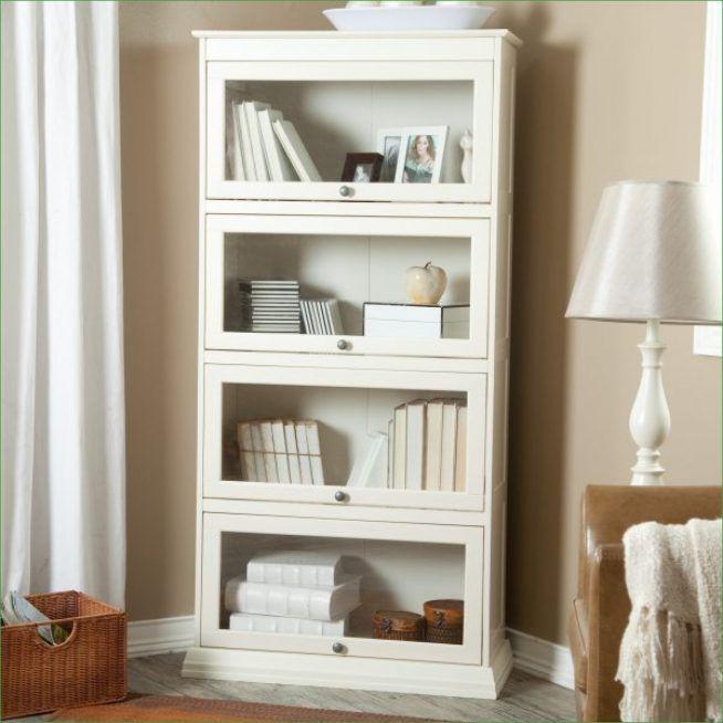 Corner White White Glass Door Book For Brown Living Room