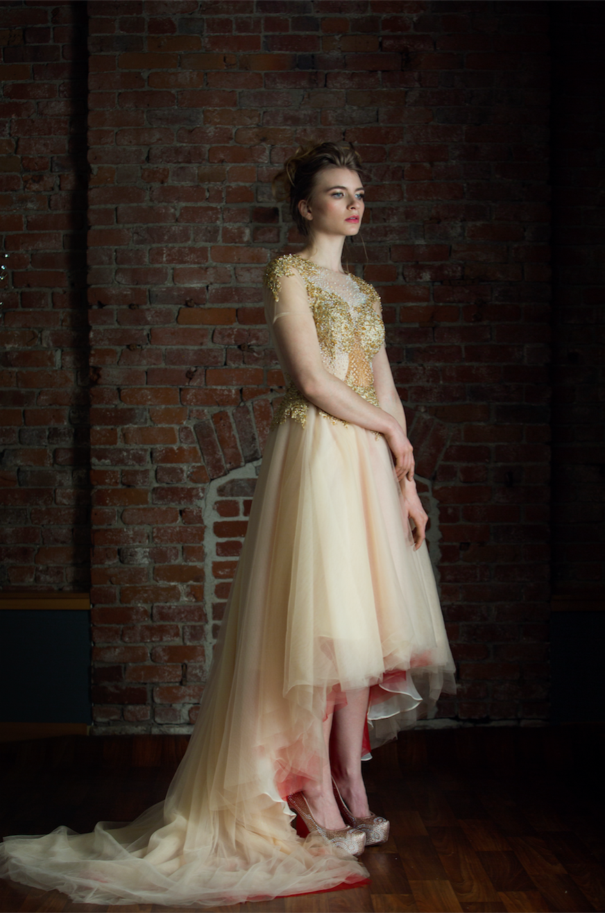 Gold and Red High Low Gown (#Amber) | Pinterest | Traditional ...