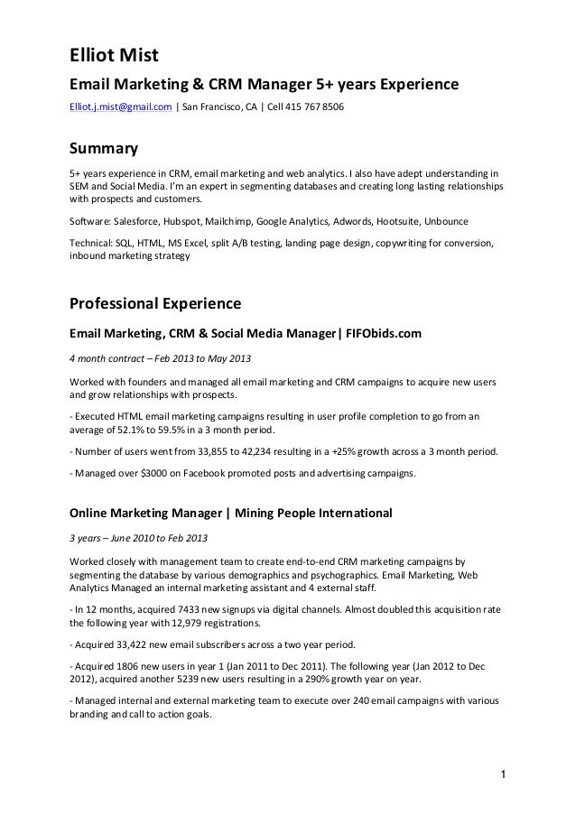Cv Email Marketing Crm Exemple Cv Resume Marketing